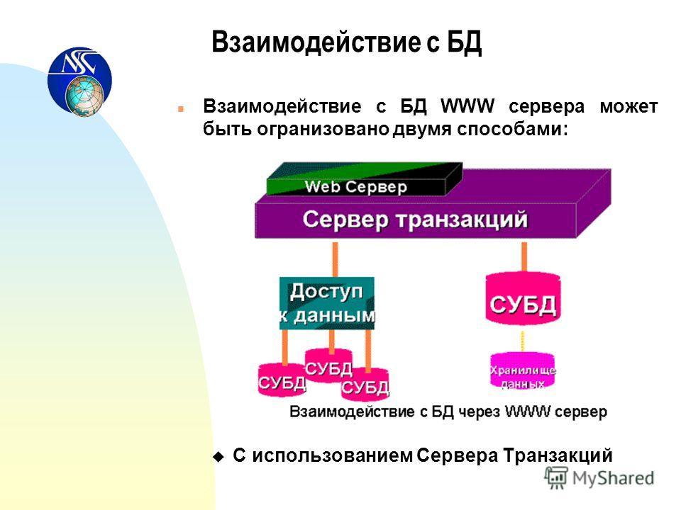 Взаимодействие с БД n Взаимодействие с БД WWW сервера может быть огранизовано двумя способами: u С использованием Сервера Транзакций