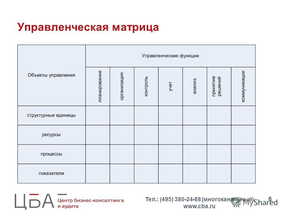 6 Управленческая матрица Тел.: (495) 380-24-88 (многоканальный) www.cba.ru