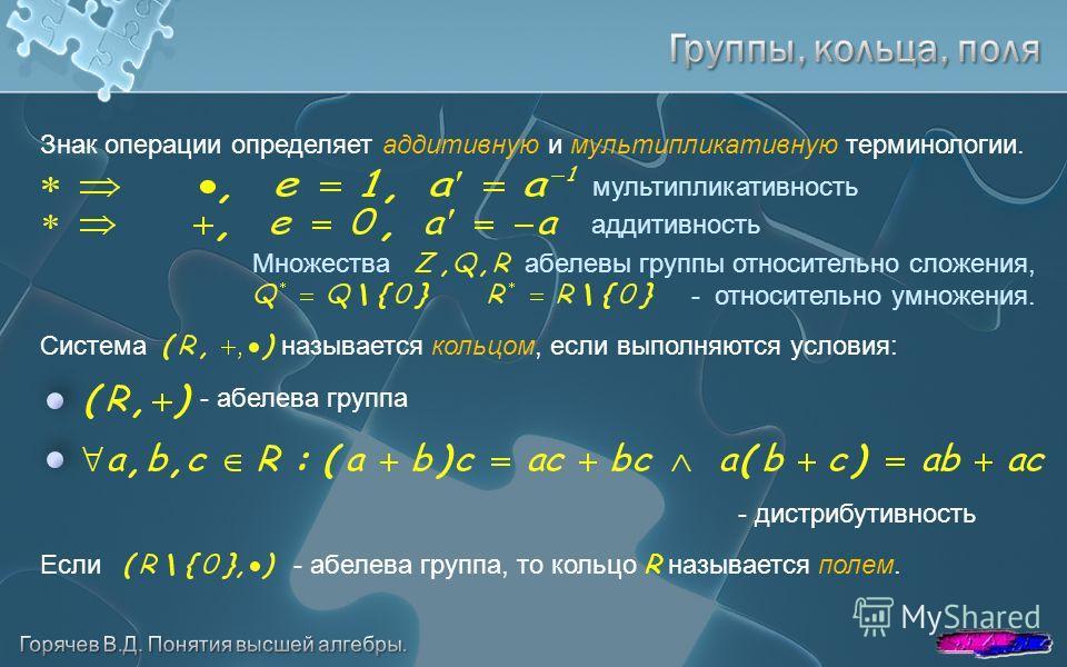 Знак операции определяет аддитивную и мультипликативную терминологии. - абелева группа - дистрибутивность мультипликативность аддитивность Множества абелевы группы относительно сложения, - относительно умножения. Система называется кольцом, если выпо