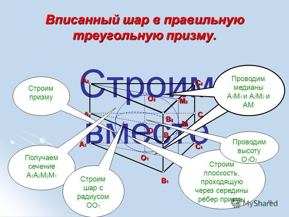 16 Строим вместе Вписанный шар в правильную треугольную призму. A2 A1 O1 B1 M1 C1 C2 O2 O B2 B AC M2 Строим призму Проводим медианы А 1 М 1 и А 2 М 2 и АМ Получаем сечение A 1 A 2 M 2 M 1 Строим плоскость, проходящую через середины рёбер призмы M Стр