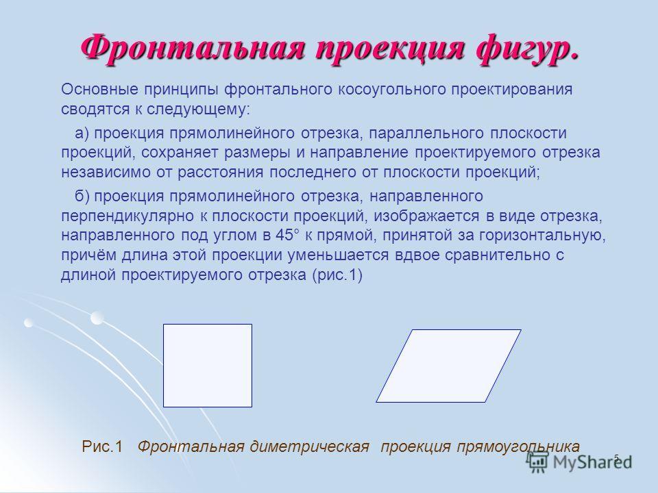 5 Фронтальная проекция фигур. Основные принципы фронтального косоугольного проектирования сводятся к следующему: а) проекция прямолинейного отрезка, параллельного плоскости проекций, сохраняет размеры и направление проектируемого отрезка независимо о