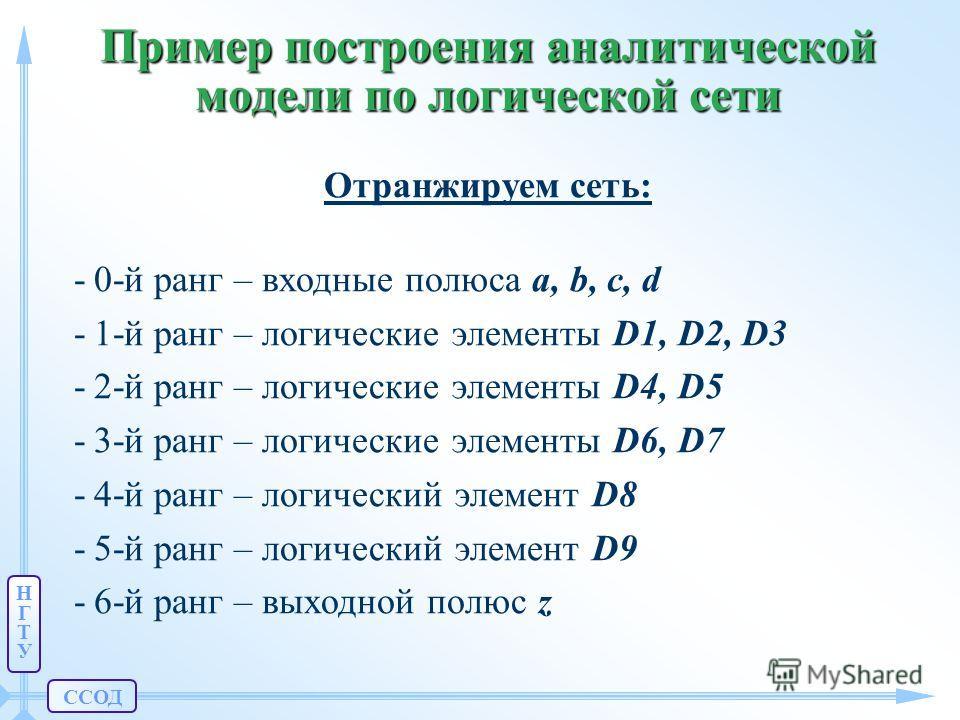 ССОД НГТУНГТУ Пример построения аналитической модели по логической сети Отранжируем сеть: -0-й ранг – входные полюса a, b, c, d -1-й ранг – логические элементы D1, D2, D3 -2-й ранг – логические элементы D4, D5 -3-й ранг – логические элементы D6, D7 -