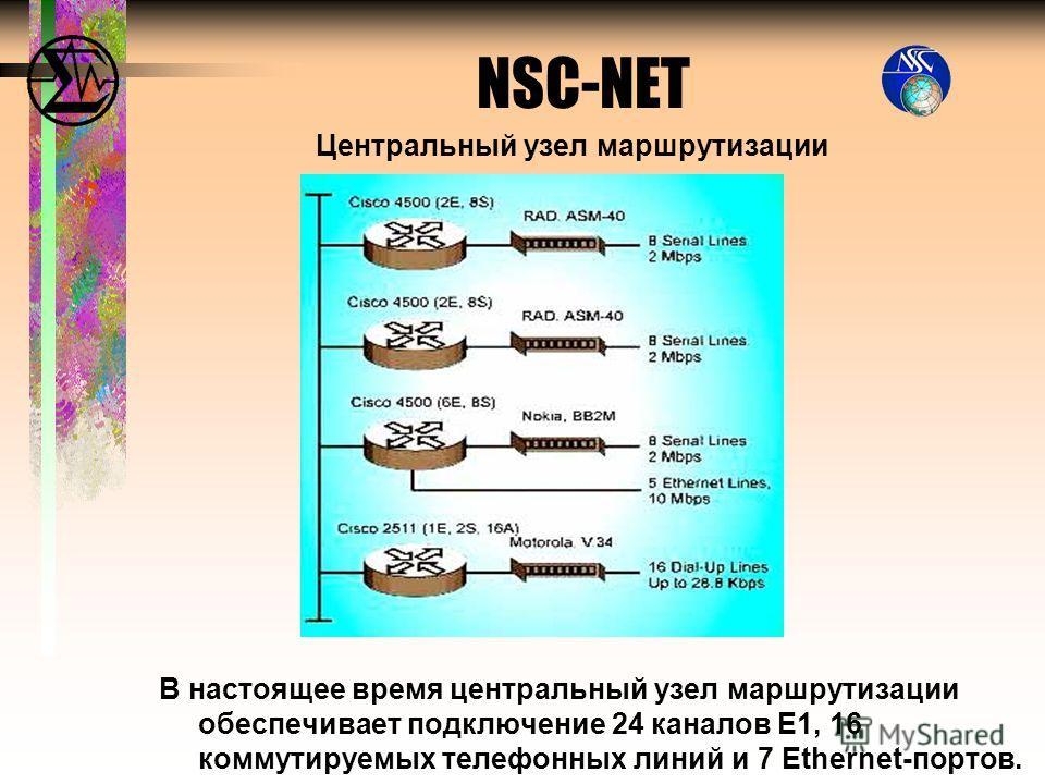 Центральный узел маршрутизации В настоящее время центральный узел маршрутизации обеспечивает подключение 24 каналов E1, 16 коммутируемых телефонных линий и 7 Ethernet-портов. NSC-NET
