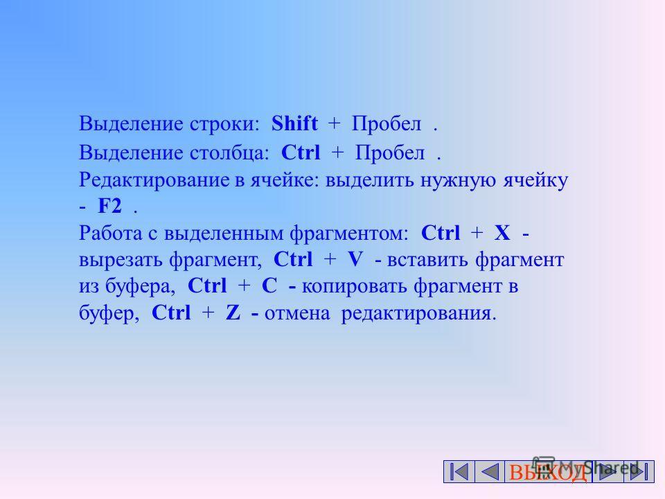 ВЫХОД Выделение строки: Shift + Пробел. Выделение столбца: Ctrl + Пробел. Редактирование в ячейке: выделить нужную ячейку - F2. Работа с выделенным фрагментом: Ctrl + X - вырезать фрагмент, Ctrl + V - вставить фрагмент из буфера, Ctrl + C - копироват