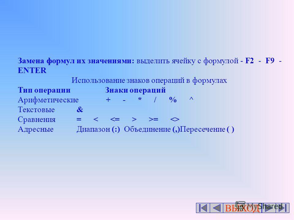 ВЫХОД Замена формул их значениями: выделить ячейку с формулой - F2 - F9 - ENTER Использование знаков операций в формулах Тип операции Знаки операций Арифметические+ - * / % ^ Текстовые& Сравнения= >=  АдресныеДиапазон (:) Объединение (,)Пересечение (