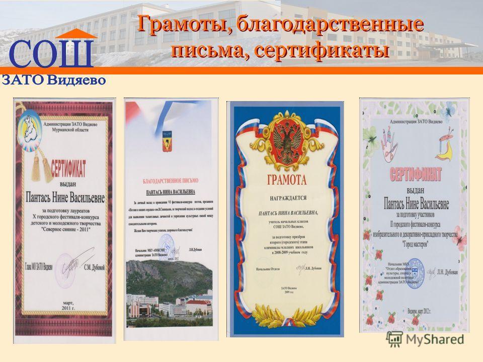 Грамоты, благодарственные письма, сертификаты