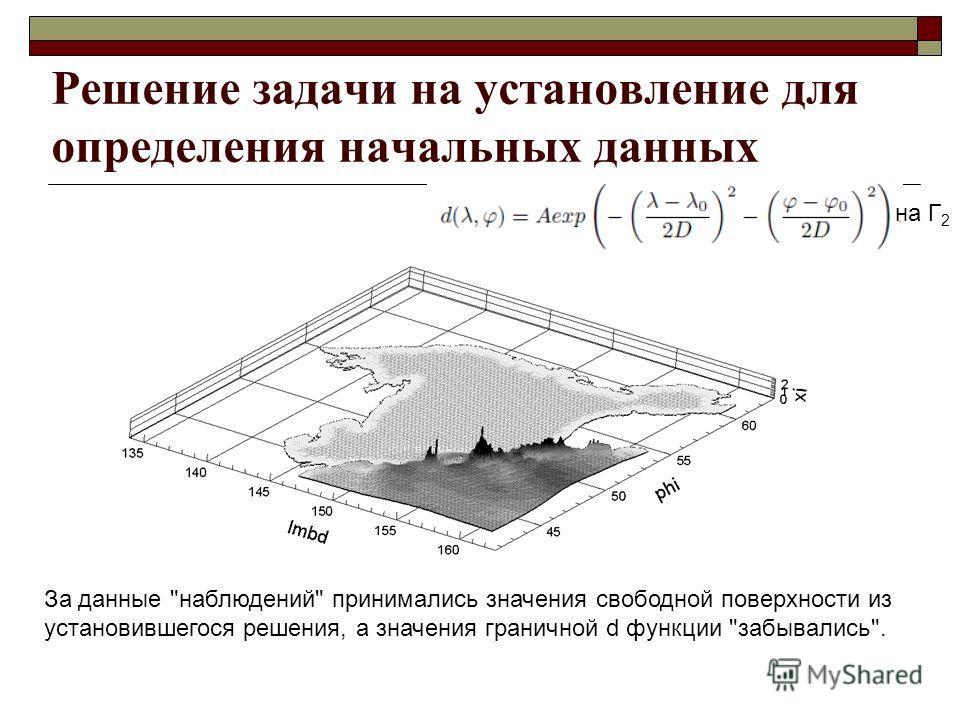 Решение задачи на установление для определения начальных данных За данные наблюдений принимались значения свободной поверхности из установившегося решения, а значения граничной d функции забывались. на Г 2