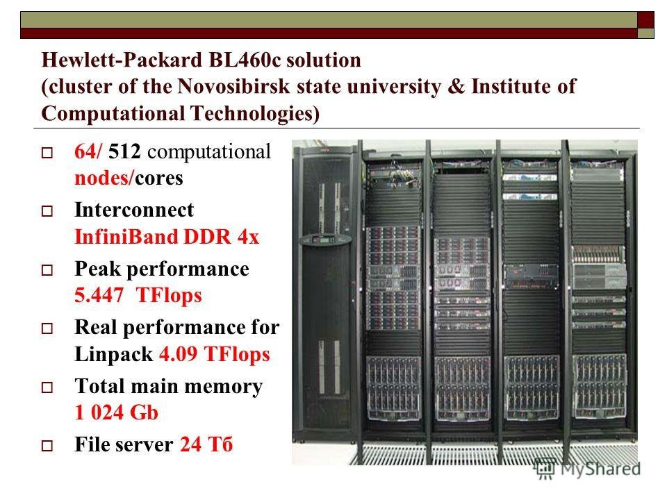 Hewlett-Packard BL460c solution (cluster of the Novosibirsk state university & Institute of Computational Technologies) 64/ 512 computational nodes/cores Interconnect InfiniBand DDR 4x Peak performance 5.447 TFlops Real performance for Linpack 4.09 T