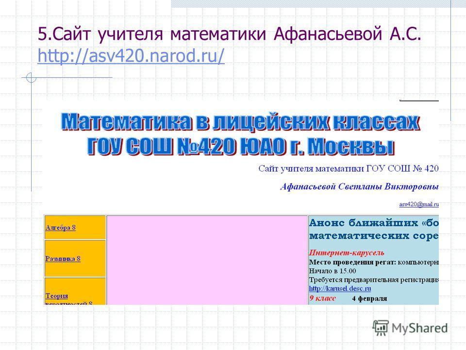 5.Сайт учителя математики Афанасьевой А.С. http://asv420.narod.ru/ http://asv420.narod.ru/