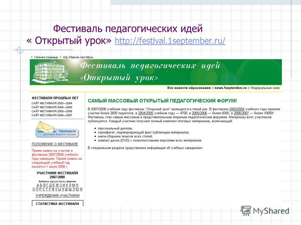 Фестиваль педагогических идей « Открытый урок» http://festival.1september.ru/ http://festival.1september.ru/