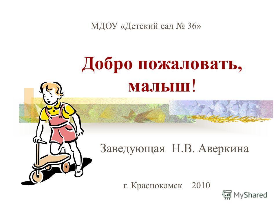 Добро пожаловать, малыш! Заведующая Н.В. Аверкина МДОУ «Детский сад 36» г. Краснокамск 2010
