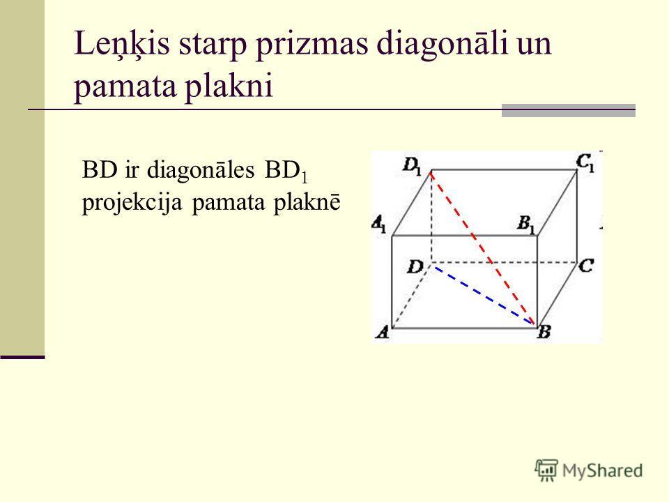 Leņķis starp prizmas diagonāli un pamata plakni BD ir diagonāles BD 1 projekcija pamata plaknē