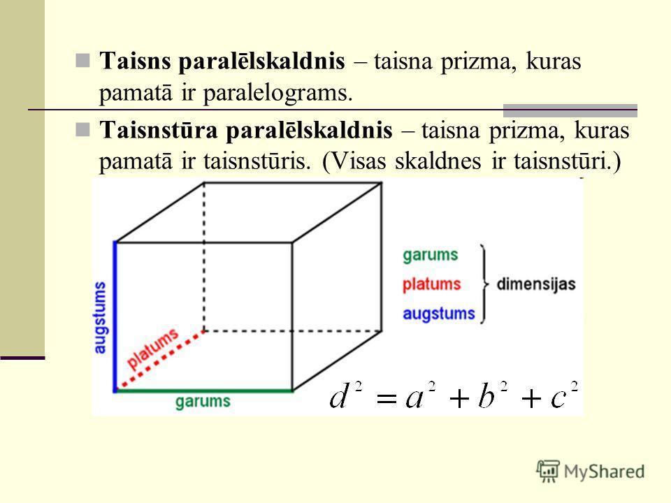Taisns paralēlskaldnis – taisna prizma, kuras pamatā ir paralelograms. Taisnstūra paralēlskaldnis – taisna prizma, kuras pamatā ir taisnstūris. (Visas skaldnes ir taisnstūri.)