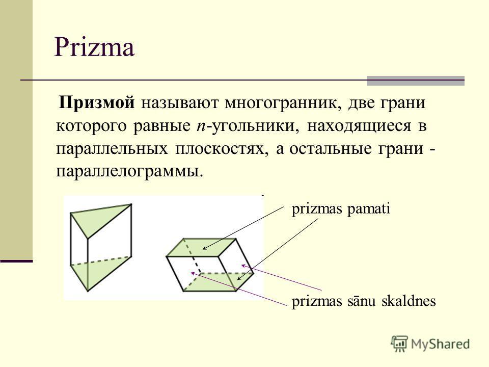 Prizma Призмой называют многогранник, две грани которого равные n-угольники, находящиеся в параллельных плоскостях, а остальные грани - параллелограммы. prizmas sānu skaldnes prizmas pamati