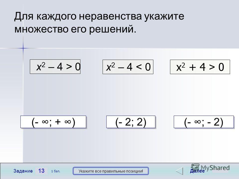х 2 – 4 > 0 х 2 – 4 < 0 х 2 + 4 > 0 13 Задание Укажите все правильные позиции! Для каждого неравенства укажите множество его решений. Далее 1 бал. (- ; - 2) (- 2; 2) (- ; + )