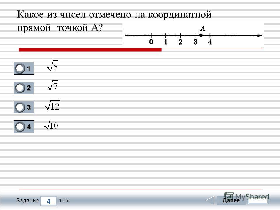 Далее 4 Задание 1 бал. 1111 2222 3333 4444 Какое из чисел отмечено на координатной прямой точкой А?
