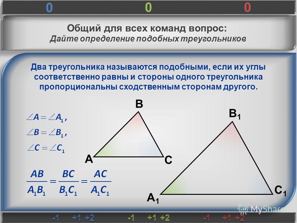 Общий для всех команд вопрос: Дайте определение подобных треугольников А В С В1В1 С1С1 А1А1 Два треугольника называются подобными, если их углы соответственно равны и стороны одного треугольника пропорциональны сходственным сторонам другого. 0 00