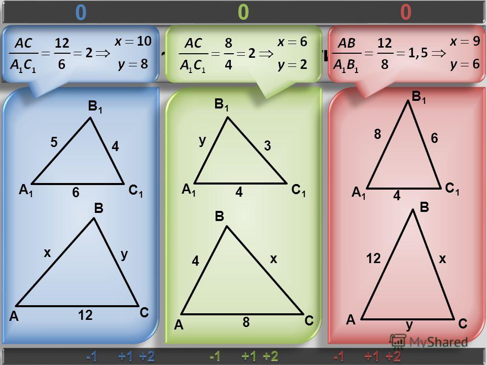 ΔABC ~ ΔA 1 B 1 C 1 Найти x и y B1B1 A1A1 C1C1 5 6 4 A B C x y 12 B1B1 A1A1 C1C1 y 4 3 A B C 4 x 8 B1B1 A1A1 C1C1 8 4 6 A B C x y 0 00