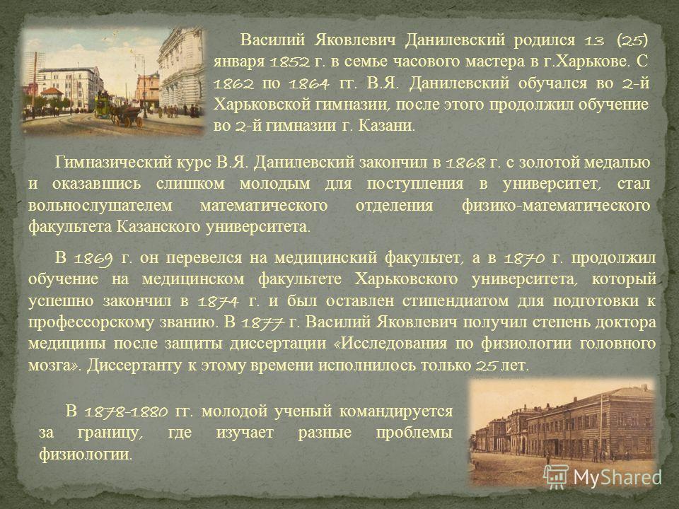 Гимназический курс В. Я. Данилевский закончил в 1868 г. с золотой медалью и оказавшись слишком молодым для поступления в университет, стал вольнослушателем математического отделения физико - математического факультета Казанского университета. В 1869