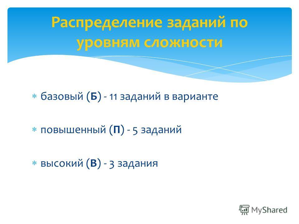 Распределение заданий по уровням сложности базовый (Б) - 11 заданий в варианте повышенный (П) - 5 заданий высокий (В) - 3 задания