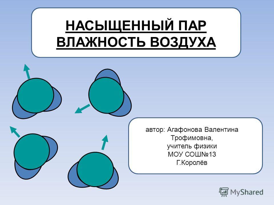 НАСЫЩЕННЫЙ ПАР ВЛАЖНОСТЬ ВОЗДУХА автор: Агафонова Валентина Трофимовна, учитель физики МОУ СОШ13 Г.Королёв