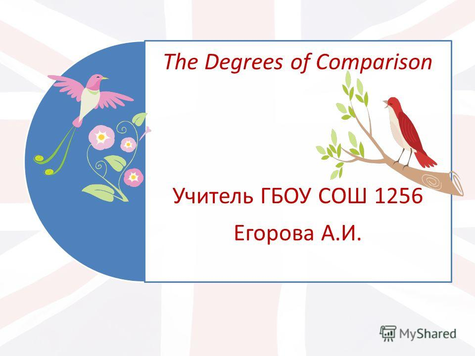 The Degrees of Comparison Учитель ГБОУ СОШ 1256 Егорова А.И.