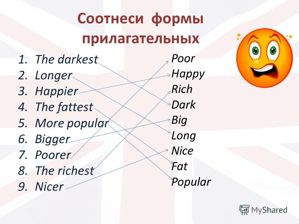 Соотнеси формы прилагательных 1.The darkest 2.Longer 3.Happier 4.The fattest 5.More popular 6.Bigger 7.Poorer 8.The richest 9.Nicer Poor Happy Rich Dark Big Long Nice Fat Popular