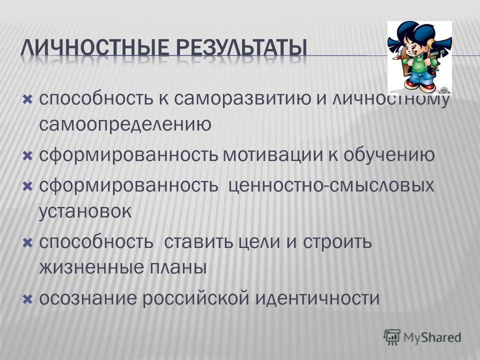 способность к саморазвитию и личностному самоопределению сформированность мотивации к обучению сформированность ценностно-смысловых установок способность ставить цели и строить жизненные планы осознание российской идентичности