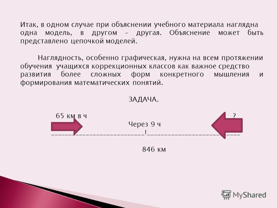 Итак, в одном случае при объяснении учебного материала наглядна одна модель, в другом – другая. Объяснение может быть представлено цепочкой моделей. Наглядность, особенно графическая, нужна на всем протяжении обучения учащихся коррекционных классов к