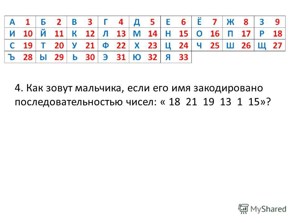 4. Как зовут мальчика, если его имя закодировано последовательностью чисел: « 18 21 19 13 1 15»?