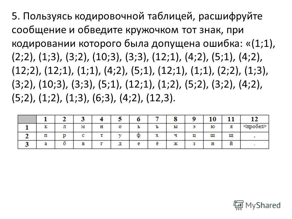5. Пользуясь кодировочной таблицей, расшифруйте сообщение и обведите кружочком тот знак, при кодировании которого была допущена ошибка: «(1;1), (2;2), (1;3), (3;2), (10;3), (3;3), (12;1), (4;2), (5;1), (4;2), (12;2), (12;1), (1;1), (4;2), (5;1), (12;