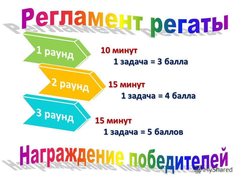 10 минут 1 задача = 3 балла 1 задача = 3 балла 15 минут 1 задача = 4 балла 1 задача = 4 балла 15 минут 1 задача = 5 баллов 1 задача = 5 баллов