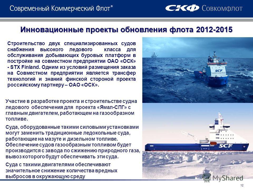 Инновационные проекты обновления флота 2012-2015 Строительство двух специализированных судов снабжения высокого ледового класса для обслуживания добывающих буровых платформ в постройке на совместном предприятии ОАО «ОСК» - STX Finland. Одним из услов