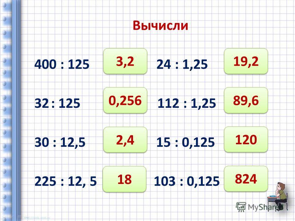 Вычисли 400 : 125 24 : 1,25 32: 125 112 : 1,25 30 : 12,5 15 : 0,125 225 : 12, 5 103 : 0,125 3,2 0,256 2,4 18 19,2 89,6 120 824