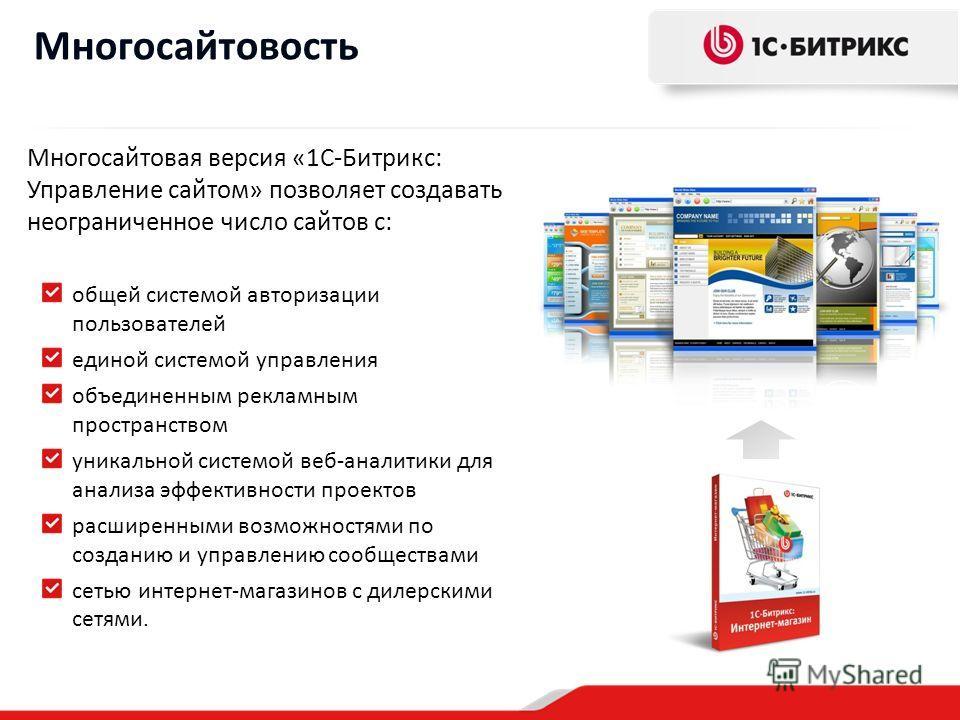 Многосайтовость Многосайтовая версия «1С-Битрикс: Управление сайтом» позволяет создавать неограниченное число сайтов с: общей системой авторизации пользователей единой системой управления объединенным рекламным пространством уникальной системой веб-а
