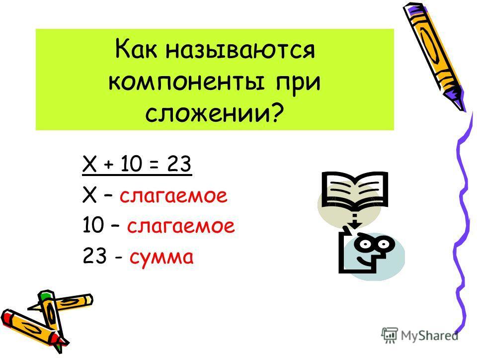 Как называются компоненты при сложении? Х + 10 = 23 Х – слагаемое 10 – слагаемое 23 - сумма