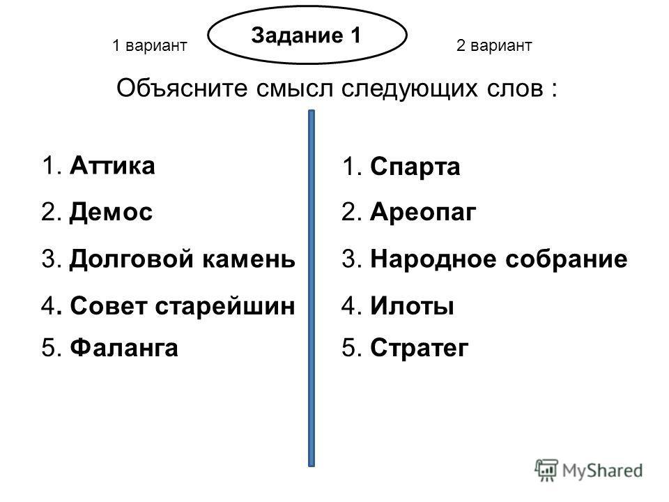 1 вариант2 вариант Задание 1 Объясните смысл следующих слов : 1. Аттика 1. Спарта 2. Демос2. Ареопаг 3. Долговой камень3. Народное собрание 4. Совет старейшин4. Илоты 5. Фаланга5. Стратег