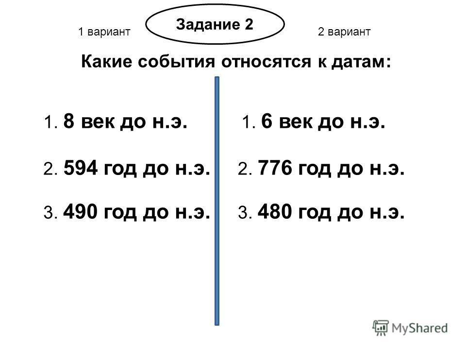 1 вариант2 вариант Задание 2 Какие события относятся к датам: 1. 8 век до н.э. 1. 6 век до н.э. 2. 594 год до н.э. 2. 776 год до н.э. 3. 490 год до н.э. 3. 480 год до н.э.