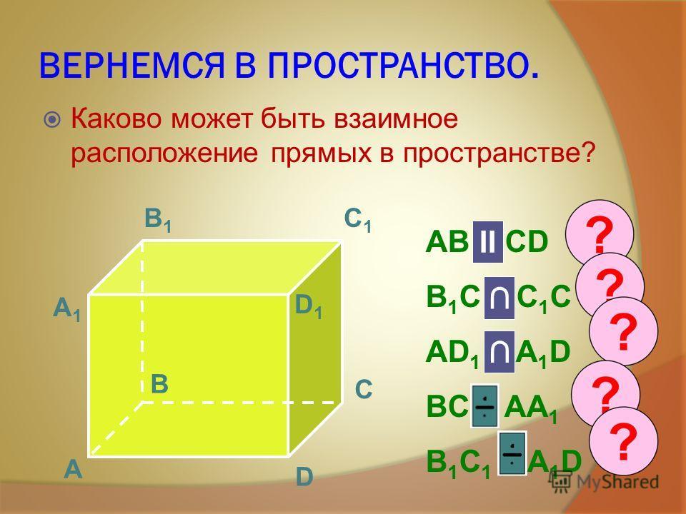 ВЕРНЕМСЯ В ПРОСТРАНСТВО. Каково может быть взаимное расположение прямых в пространстве? А B C D А1А1 B1B1 C1C1 D1D1 AB и CD B 1 C и C 1 C AD 1 и A 1 D BC и AA 1 B 1 C 1 и A 1 D II