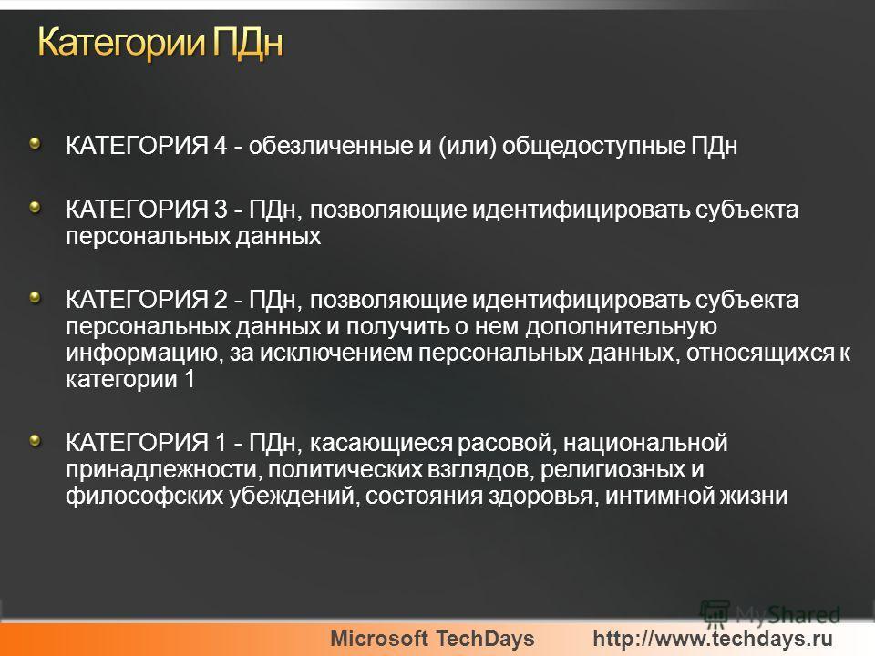 Microsoft TechDayshttp://www.techdays.ru КАТЕГОРИЯ 4 - обезличенные и (или) общедоступные ПДн КАТЕГОРИЯ 3 - ПДн, позволяющие идентифицировать субъекта персональных данных КАТЕГОРИЯ 2 - ПДн, позволяющие идентифицировать субъекта персональных данных и