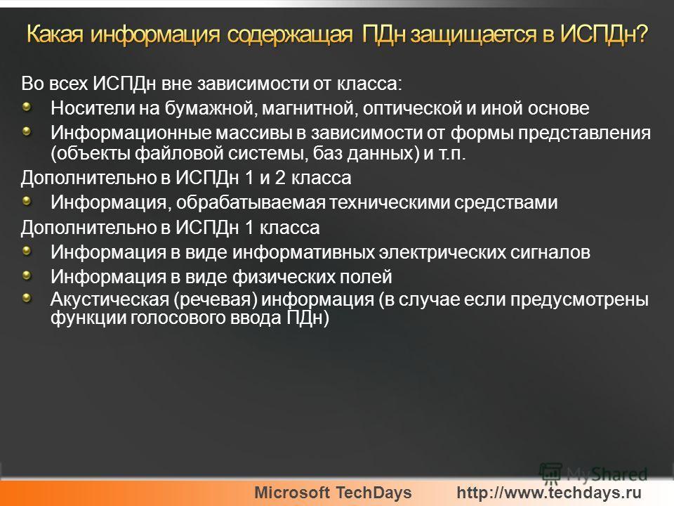 Microsoft TechDayshttp://www.techdays.ru Во всех ИСПДн вне зависимости от класса: Носители на бумажной, магнитной, оптической и иной основе Информационные массивы в зависимости от формы представления (объекты файловой системы, баз данных) и т.п. Допо