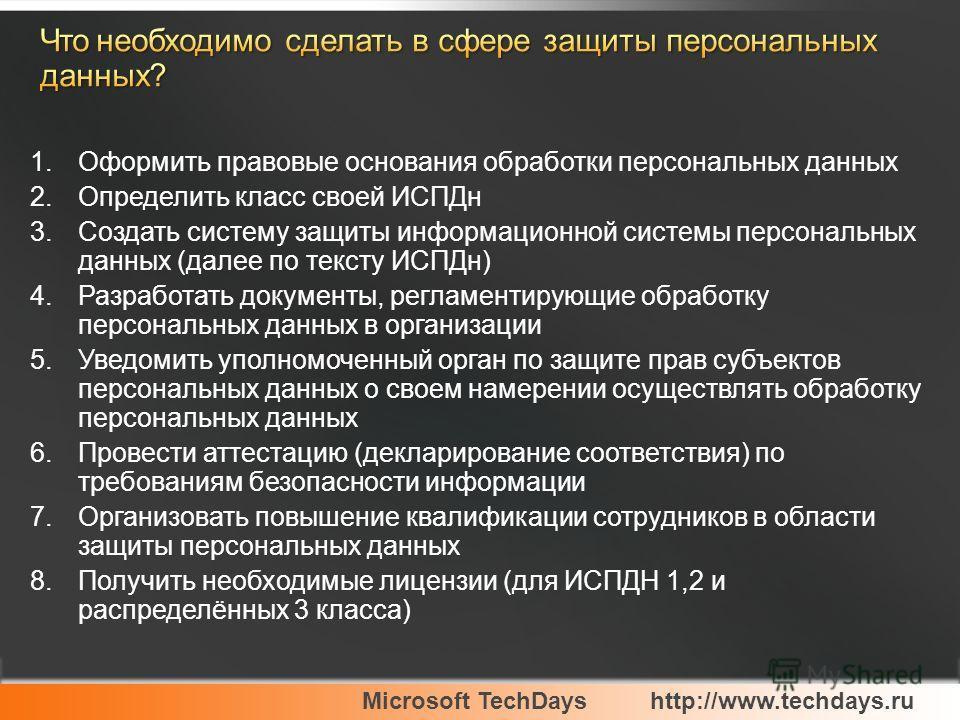Microsoft TechDayshttp://www.techdays.ru 1. Оформить правовые основания обработки персональных данных 2. Определить класс своей ИСПДн 3. Создать систему защиты информационной системы персональных данных (далее по тексту ИСПДн) 4. Разработать документ