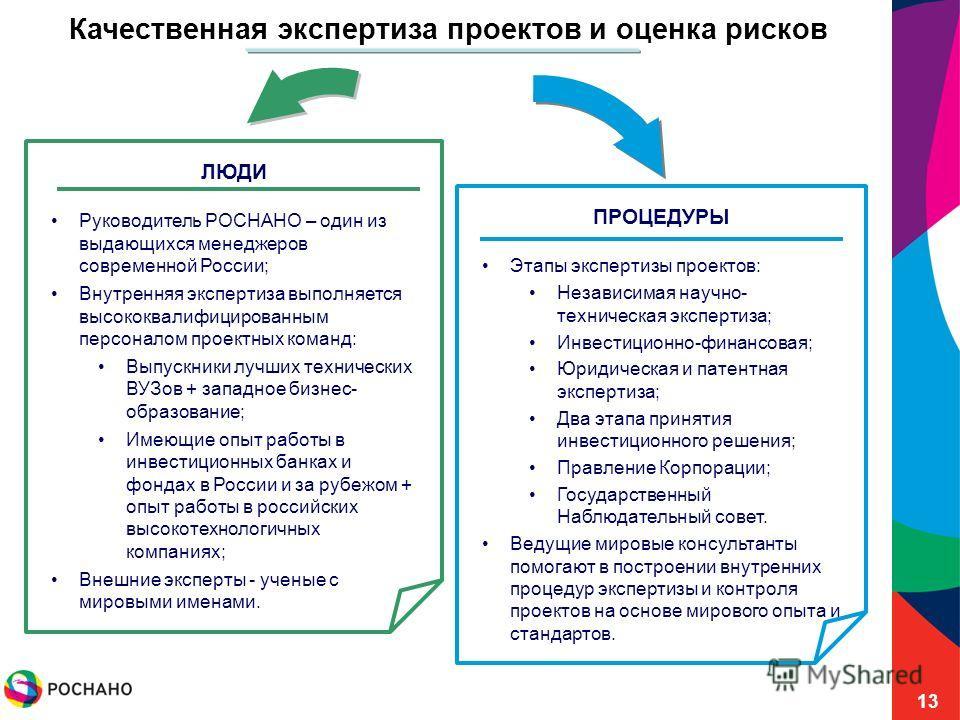 13 Качественная экспертиза проектов и оценка рисков ПРОЦЕДУРЫ Этапы экспертизы проектов: Независимая научно- техническая экспертиза; Инвестиционно-финансовая; Юридическая и патентная экспертиза; Два этапа принятия инвестиционного решения; Правление К