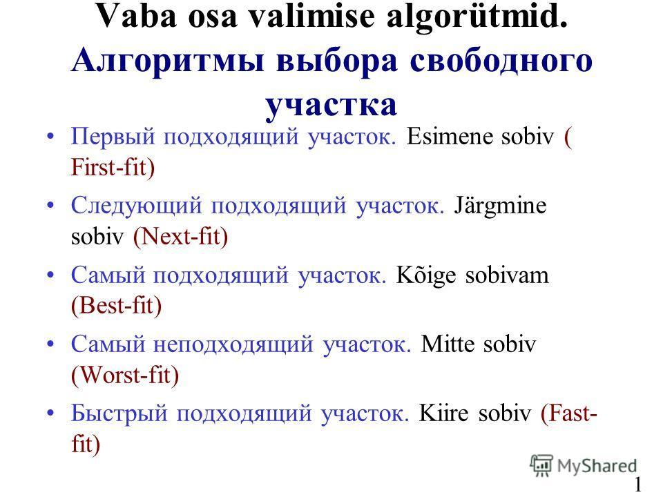 14 Vaba osa valimise algorütmid. Алгоритмы выбора свободного участка Первый подходящий участок. Esimene sobiv ( First-fit) Следующий подходящий участок. Järgmine sobiv (Next-fit) Самый подходящий участок. Kõige sobivam (Вest-fit) Самый неподходящий у