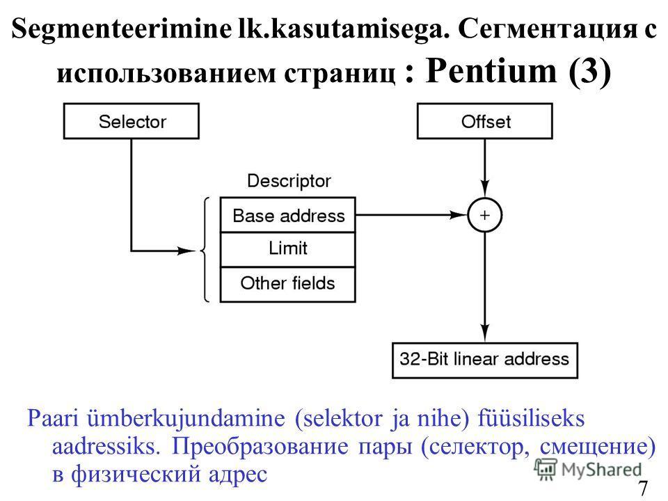 73 Segmenteerimine lk.kasutamisega. Сегментация с использованием страниц : Pentium (3) Paari ümberkujundamine (selektor ja nihe) füüsiliseks aadressiks. Преобразование пары (селектор, смещение) в физический адрес