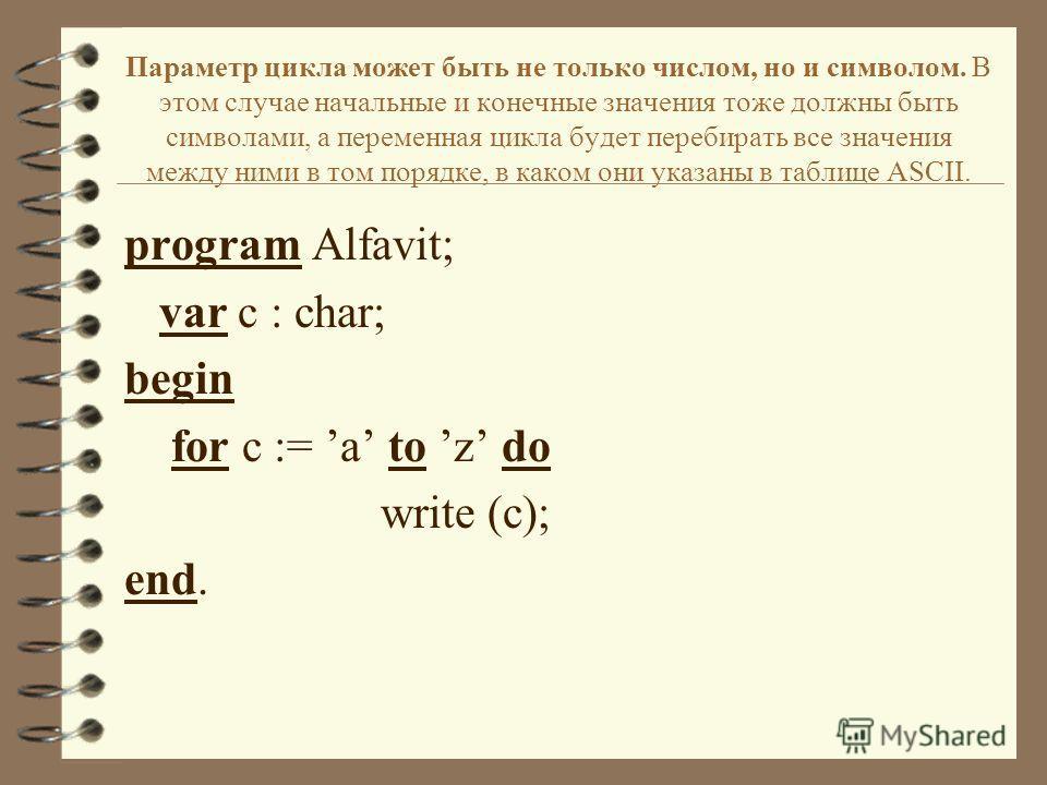 Параметр цикла может быть не только числом, но и символом. В этом случае начальные и конечные значения тоже должны быть символами, а переменная цикла будет перебирать все значения между ними в том порядке, в каком они указаны в таблице ASCII. program