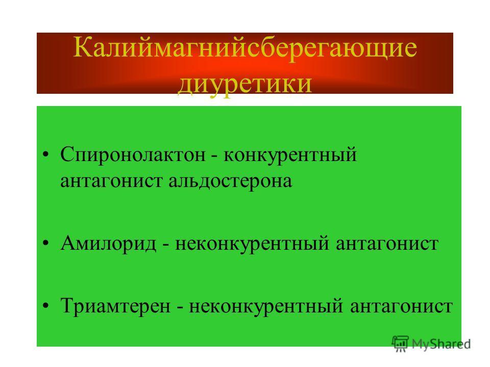 Калиймагнийсберегающие диуретики Спиронолактон - конкурентный антагонист альдостерона Амилорид - неконкурентный антагонист Триамтерен - неконкурентный антагонист