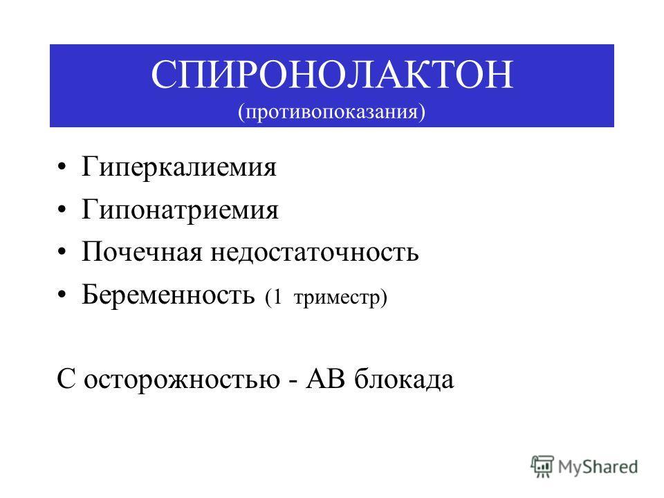 СПИРОНОЛАКТОН (противопоказания) Гиперкалиемия Гипонатриемия Почечная недостаточность Беременность (1 триместр) С осторожностью - АВ блокада