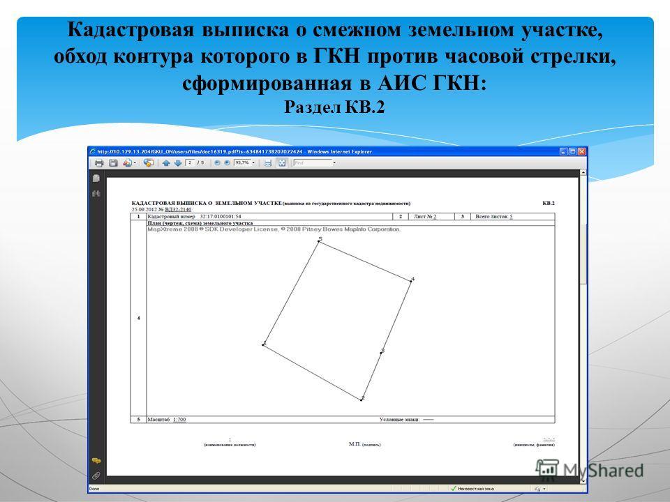 Кадастровая выписка о смежном земельном участке, обход контура которого в ГКН против часовой стрелки, сформированная в АИС ГКН: Раздел КВ.2