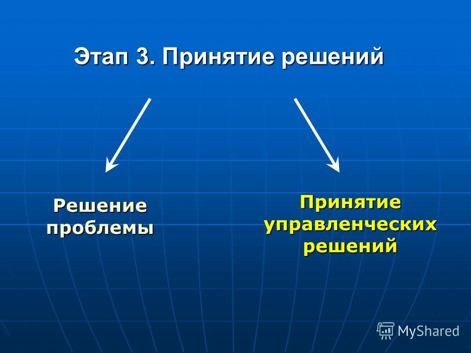 Этап 3. Принятие решений Решение проблемы Принятие управленческих решений